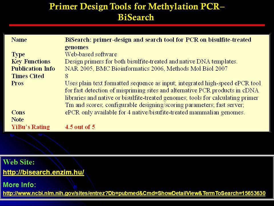 Primer Design Tools for Methylation PCR– BiSearch