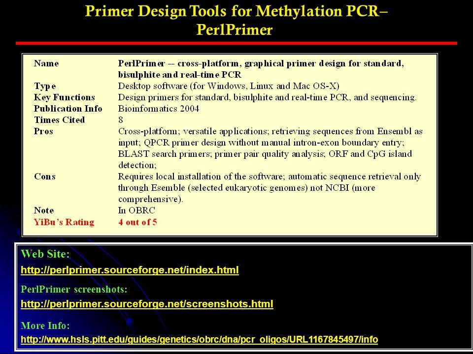 Primer Design Tools for Methylation PCR– PerlPrimer