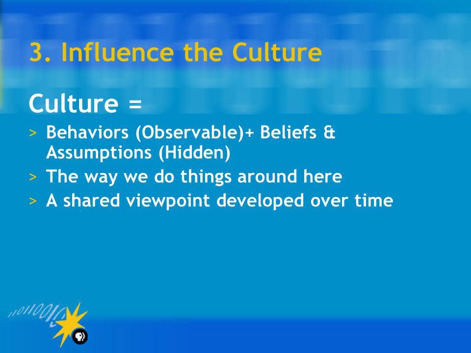 3. Influence the Culture Culture =