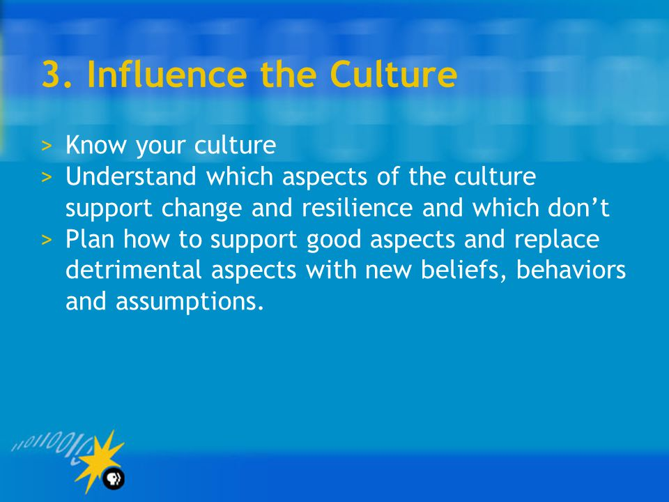 3. Influence the Culture Know your culture