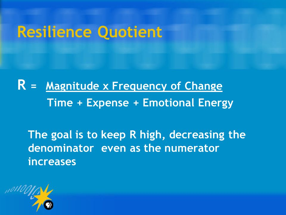 Resilience Quotient R = Magnitude x Frequency of Change