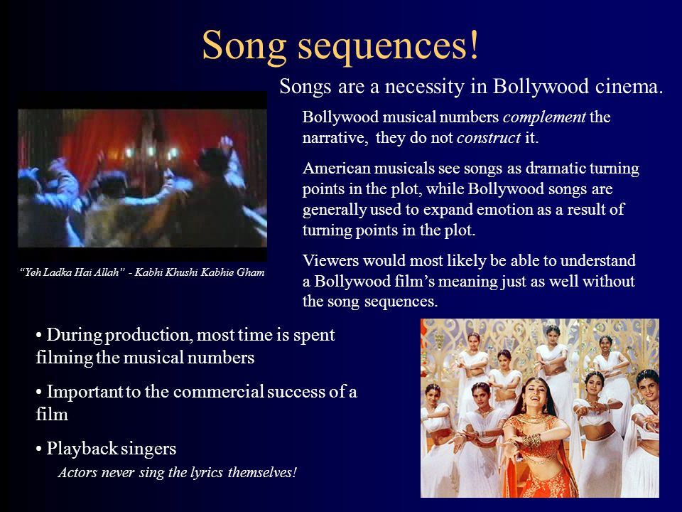 Songs are a necessity in Bollywood cinema.