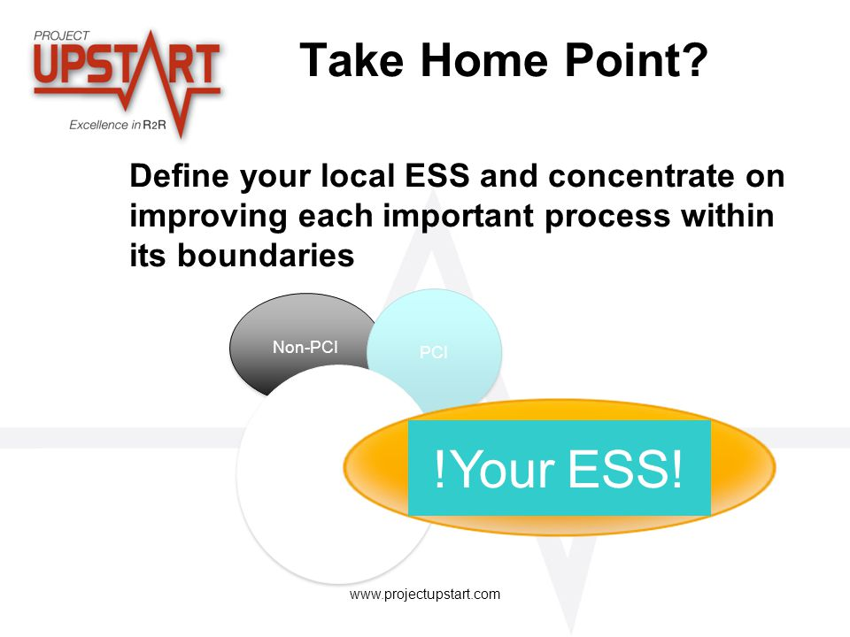 Take Home Point Define your local ESS and concentrate on improving each important process within its boundaries