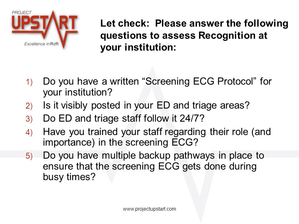Do you have a written Screening ECG Protocol for your institution