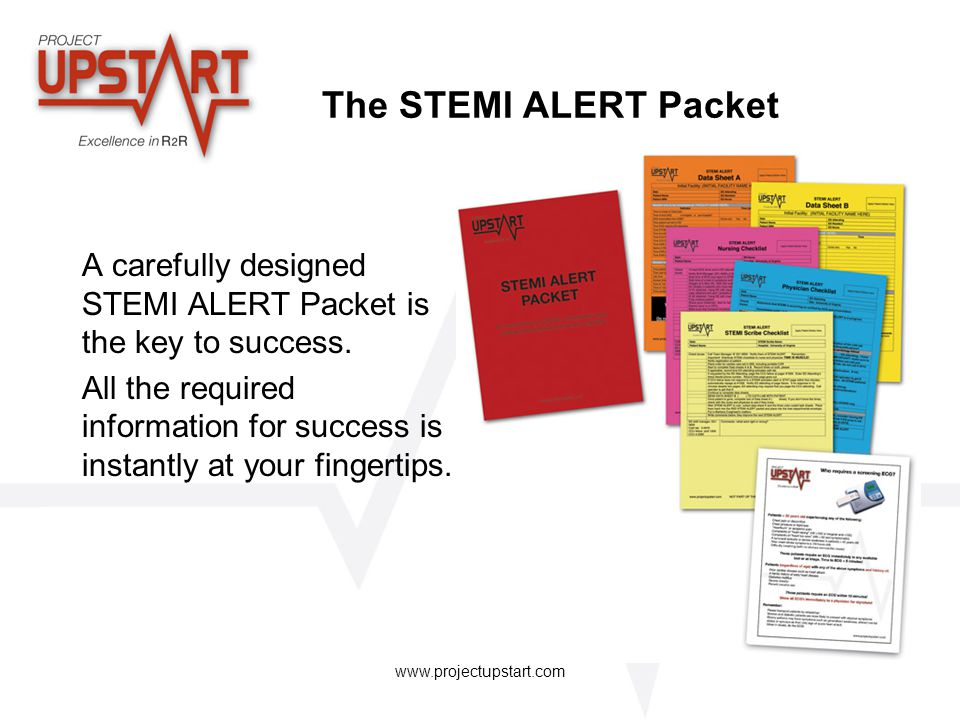 The STEMI ALERT Packet A carefully designed STEMI ALERT Packet is the key to success.