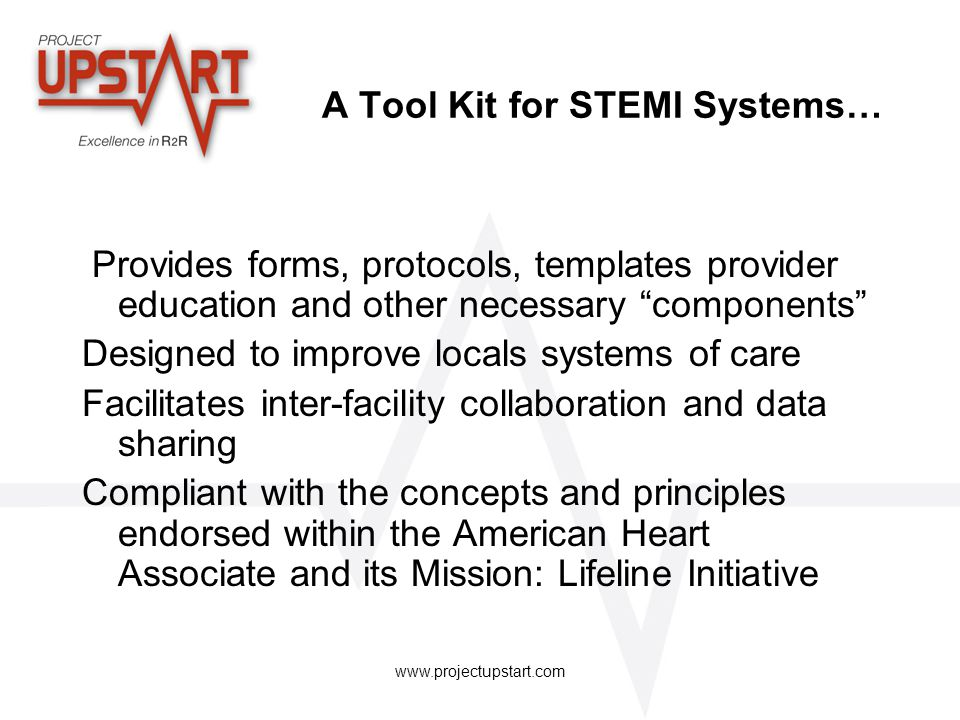 A Tool Kit for STEMI Systems…