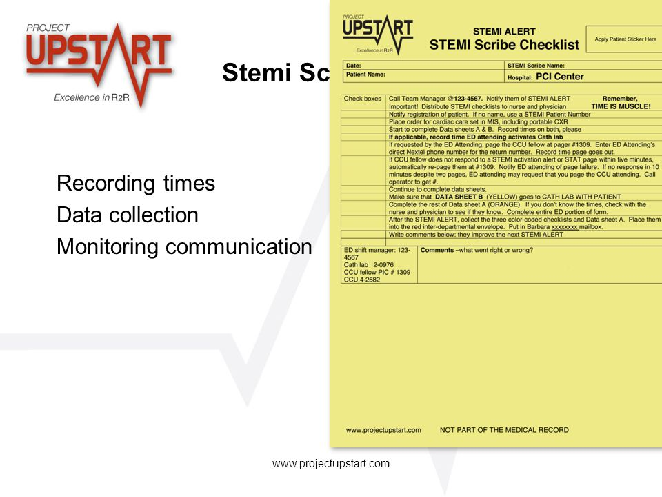 Stemi Scribe Recording times Data collection Monitoring communication