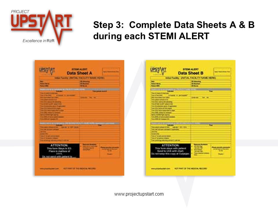 Step 3: Complete Data Sheets A & B during each STEMI ALERT