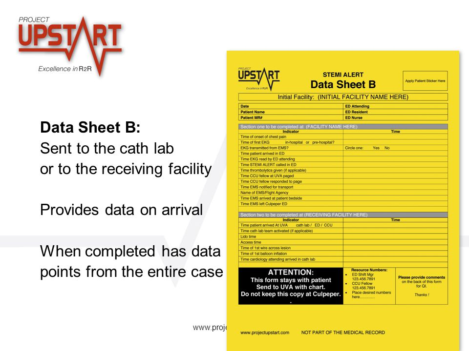 or to the receiving facility Provides data on arrival