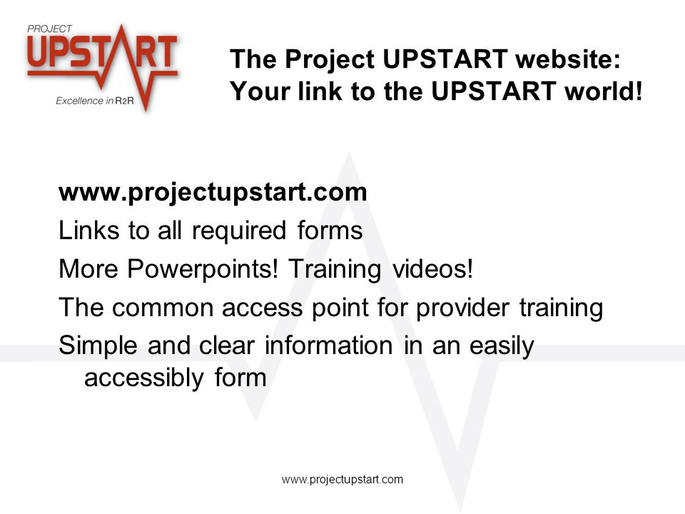 The Project UPSTART website: Your link to the UPSTART world!