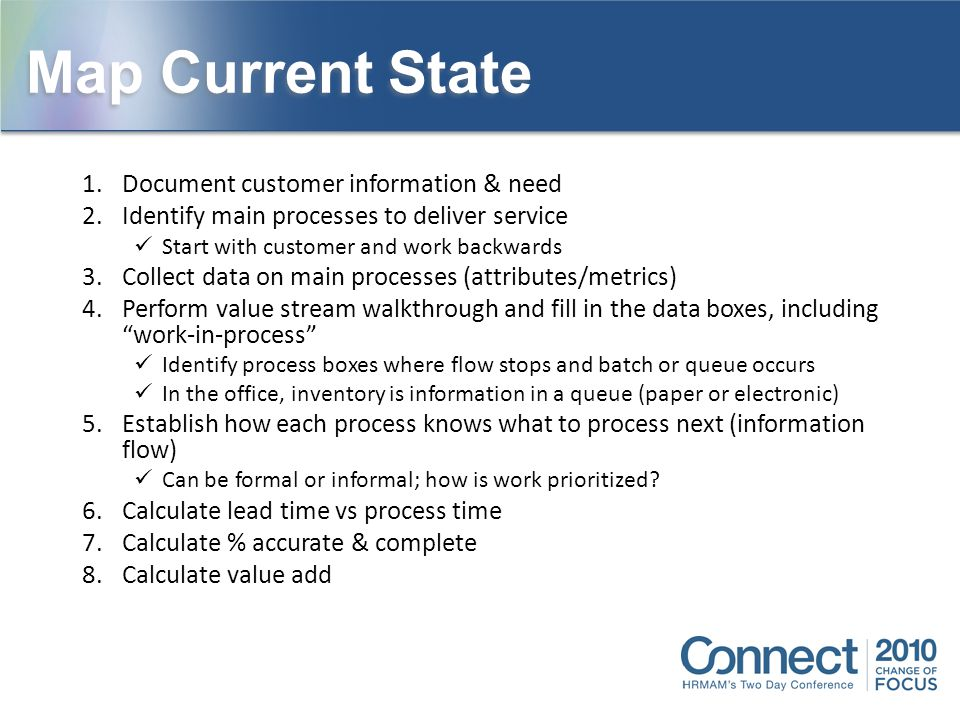 Map Current State Document customer information & need