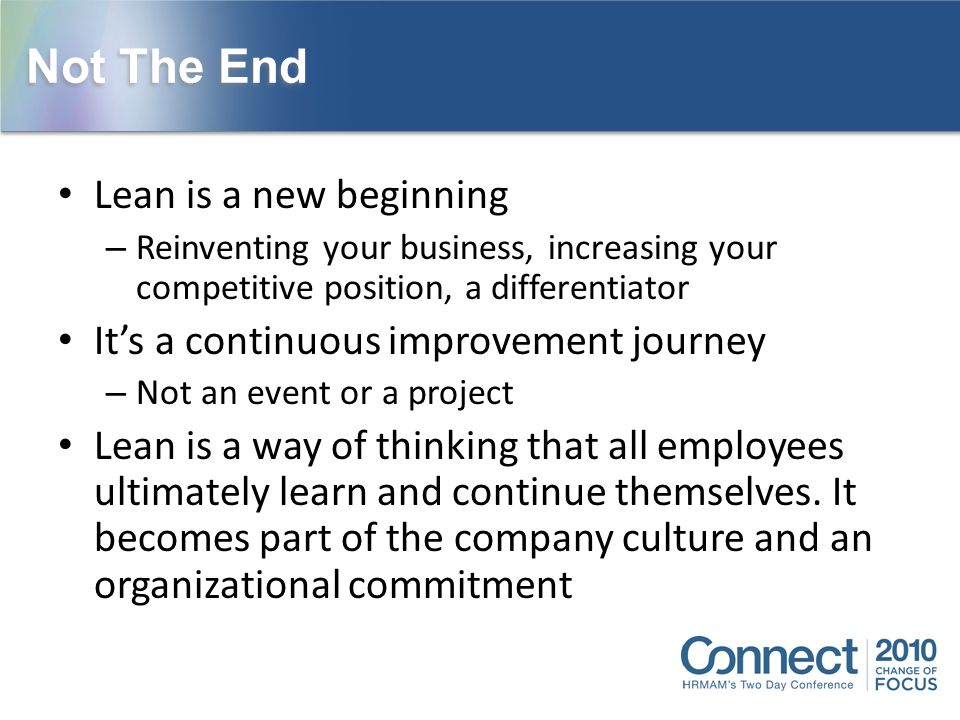 Not The End Lean is a new beginning