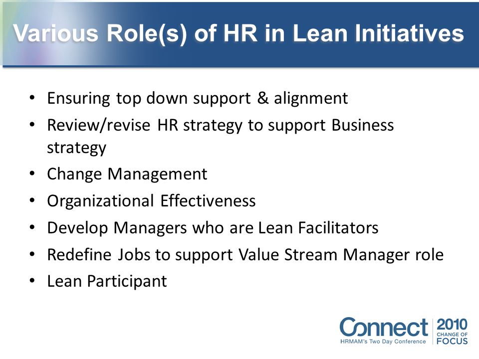 Various Role(s) of HR in Lean Initiatives