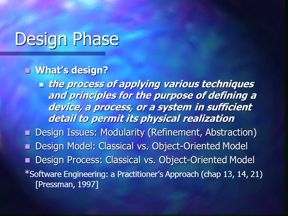 Design Phase What's design