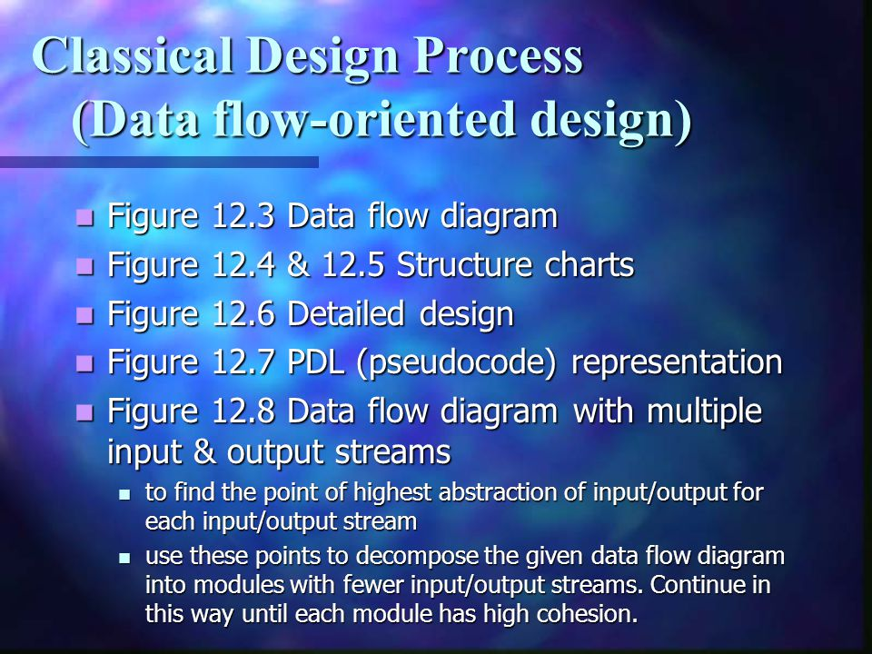 Classical Design Process (Data flow-oriented design)