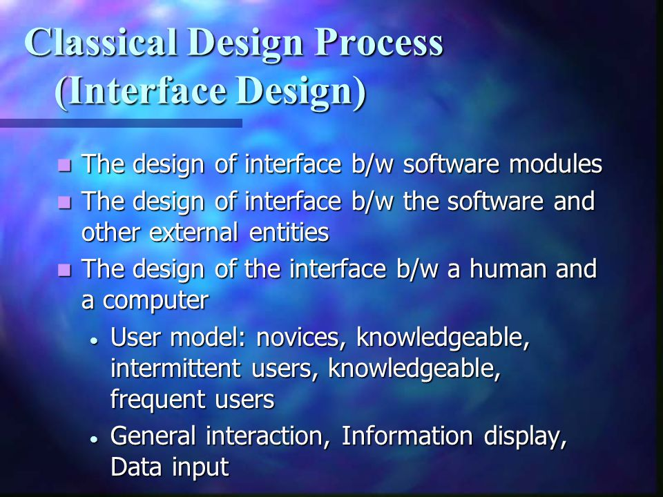 Classical Design Process (Interface Design)