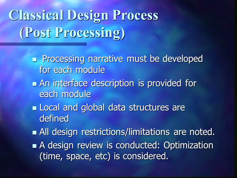 Classical Design Process (Post Processing)