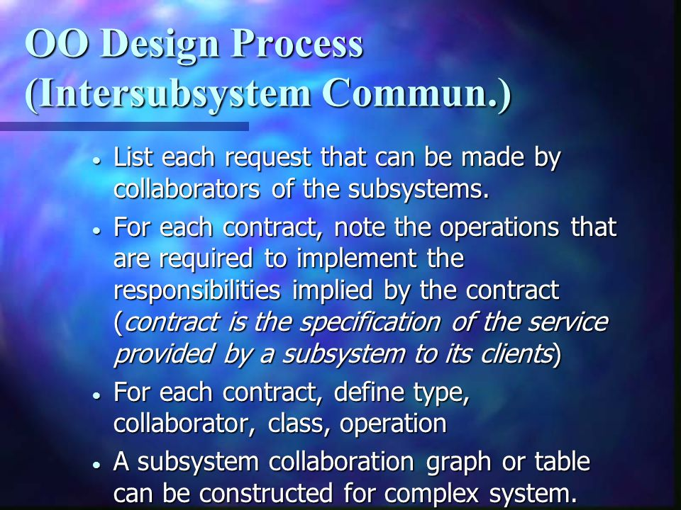 OO Design Process (Intersubsystem Commun.)