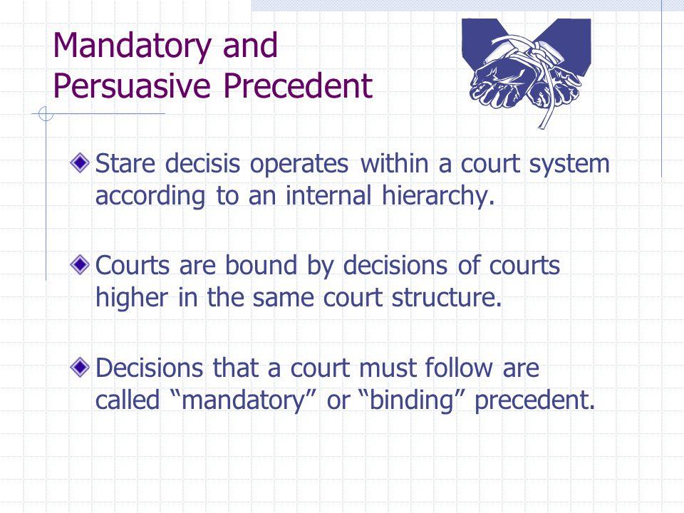 Mandatory and Persuasive Precedent