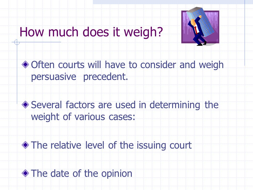 How much does it weigh Often courts will have to consider and weigh persuasive precedent.