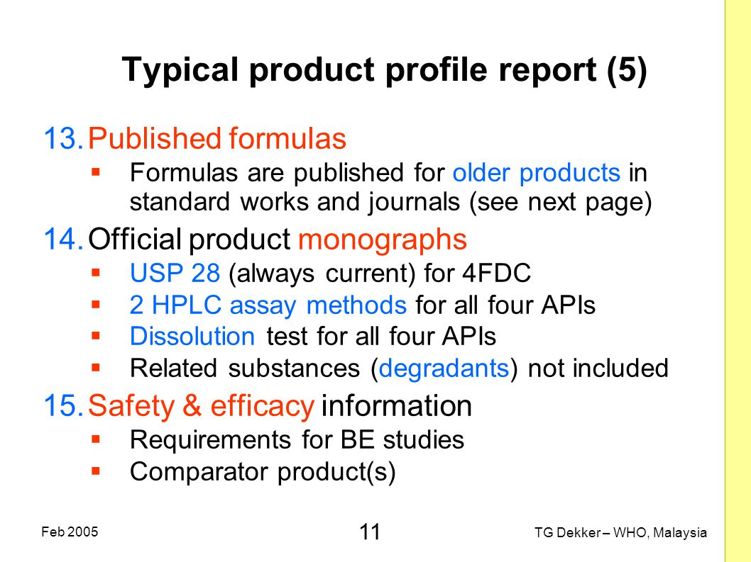 Typical product profile report (5)