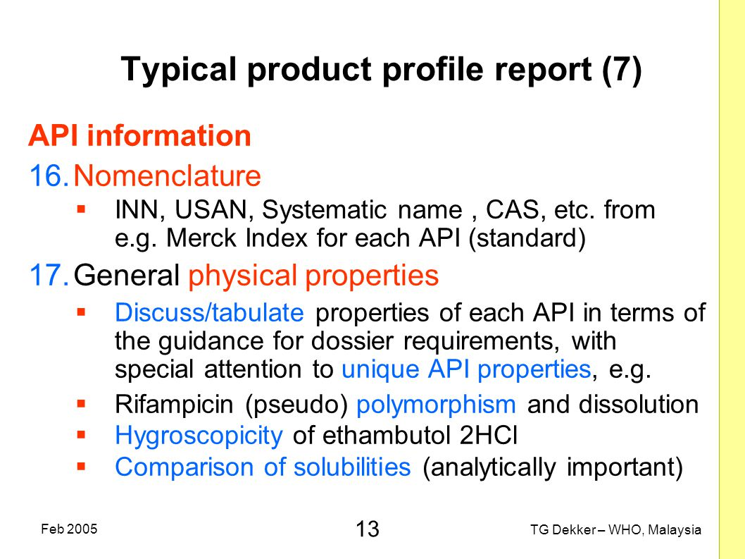 Typical product profile report (7)