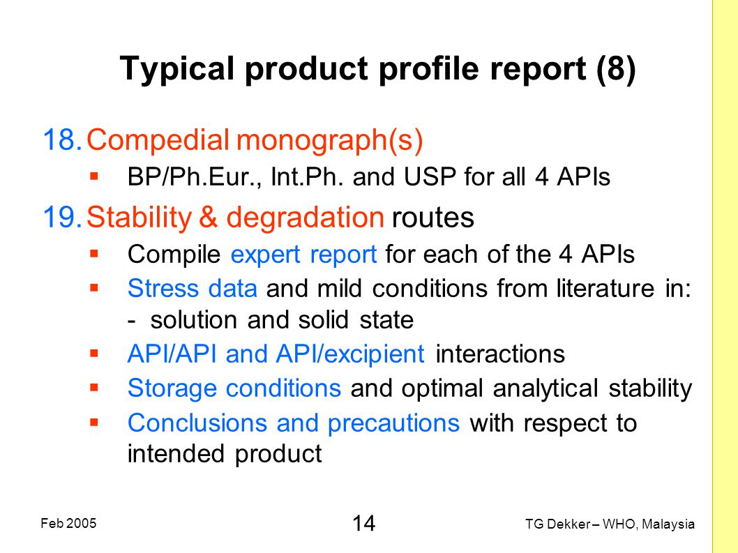 Typical product profile report (8)