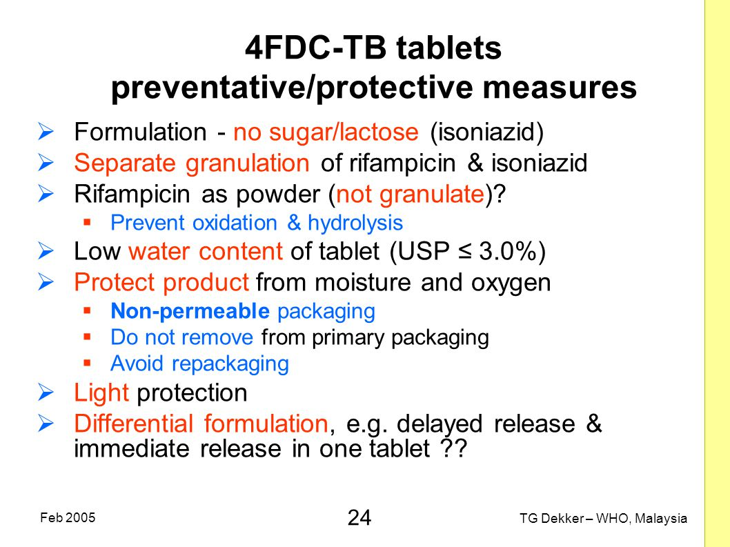 4FDC-TB tablets preventative/protective measures