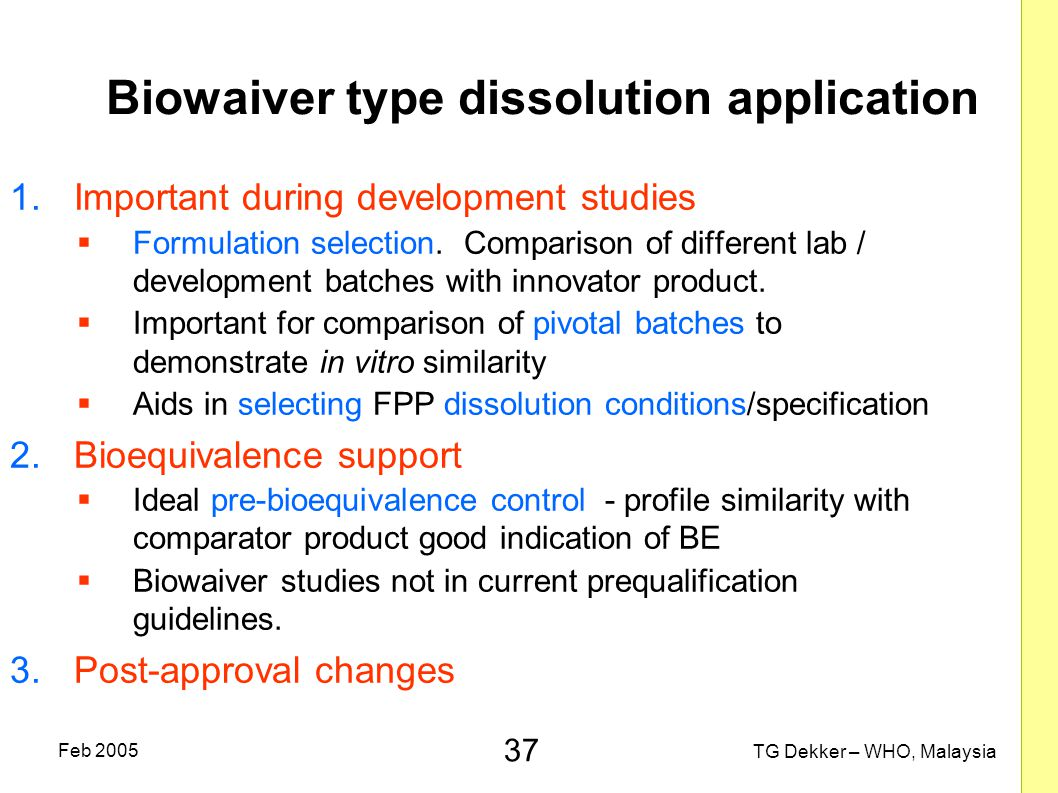 Biowaiver type dissolution application