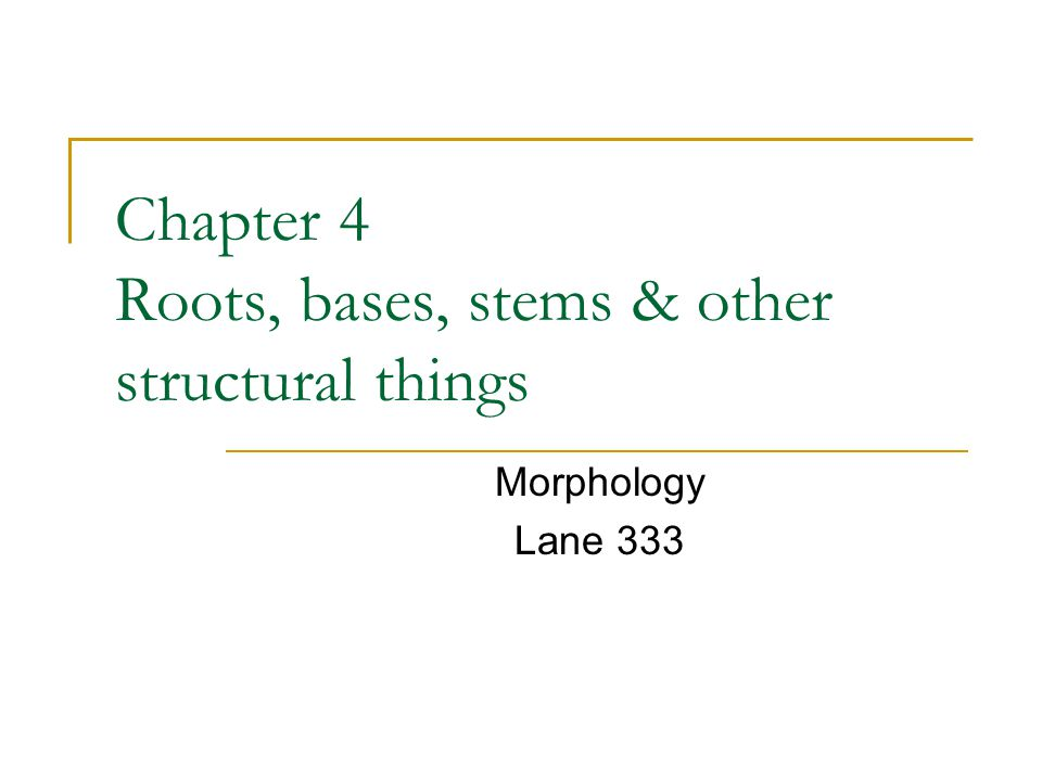 Chapter 4 Roots, bases, stems & other structural things