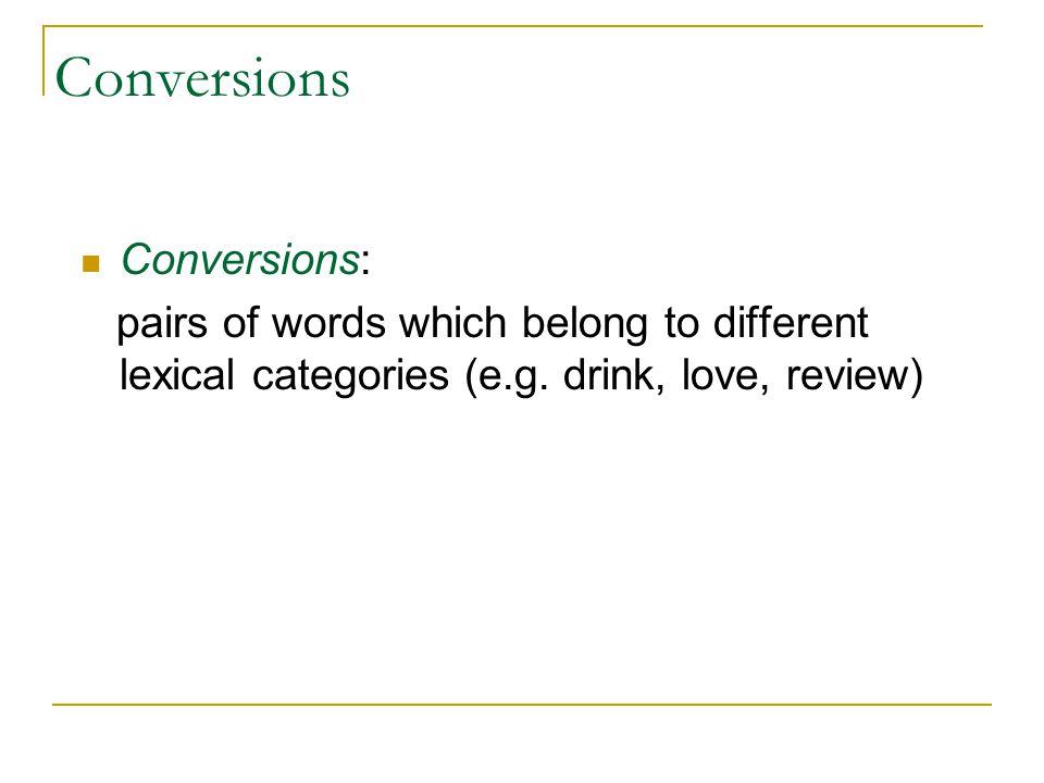 Conversions Conversions: