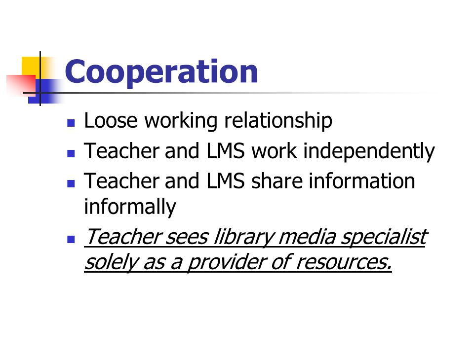 Cooperation Loose working relationship