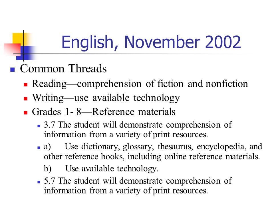 English, November 2002 Common Threads