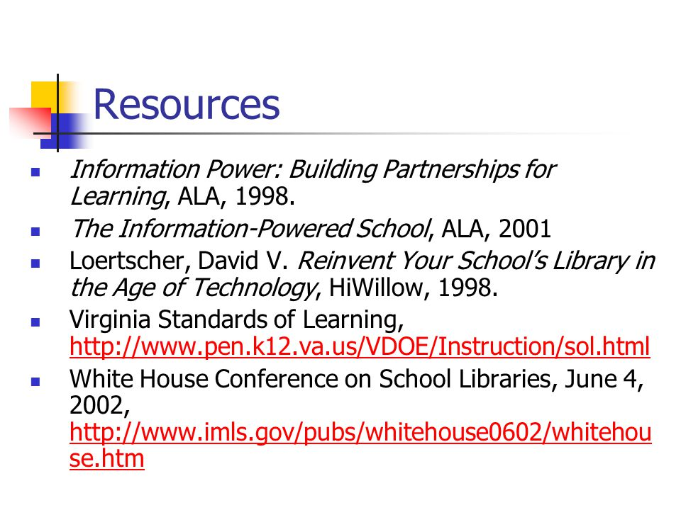 Resources Information Power: Building Partnerships for Learning, ALA, 1998. The Information-Powered School, ALA, 2001.