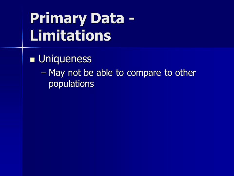 Primary Data - Limitations