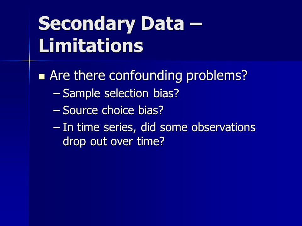 Secondary Data – Limitations