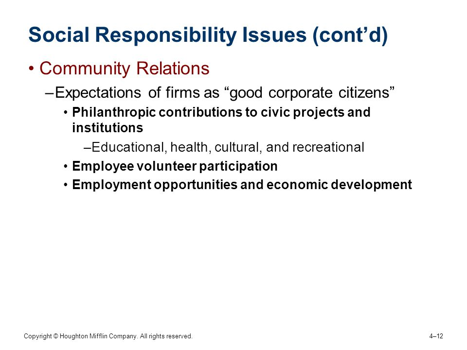Social Responsibility Issues (cont'd)