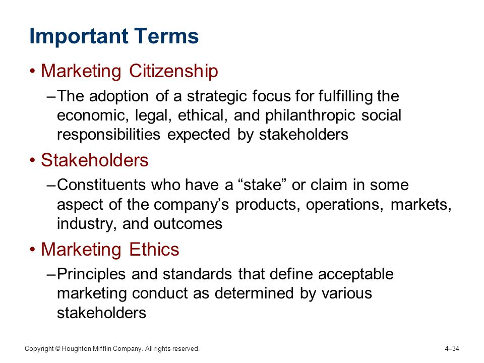 Important Terms Marketing Citizenship Stakeholders Marketing Ethics