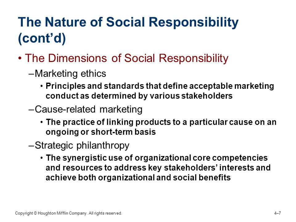 The Nature of Social Responsibility (cont'd)