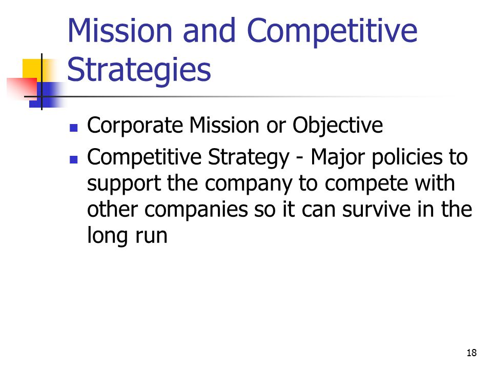 Mission and Competitive Strategies