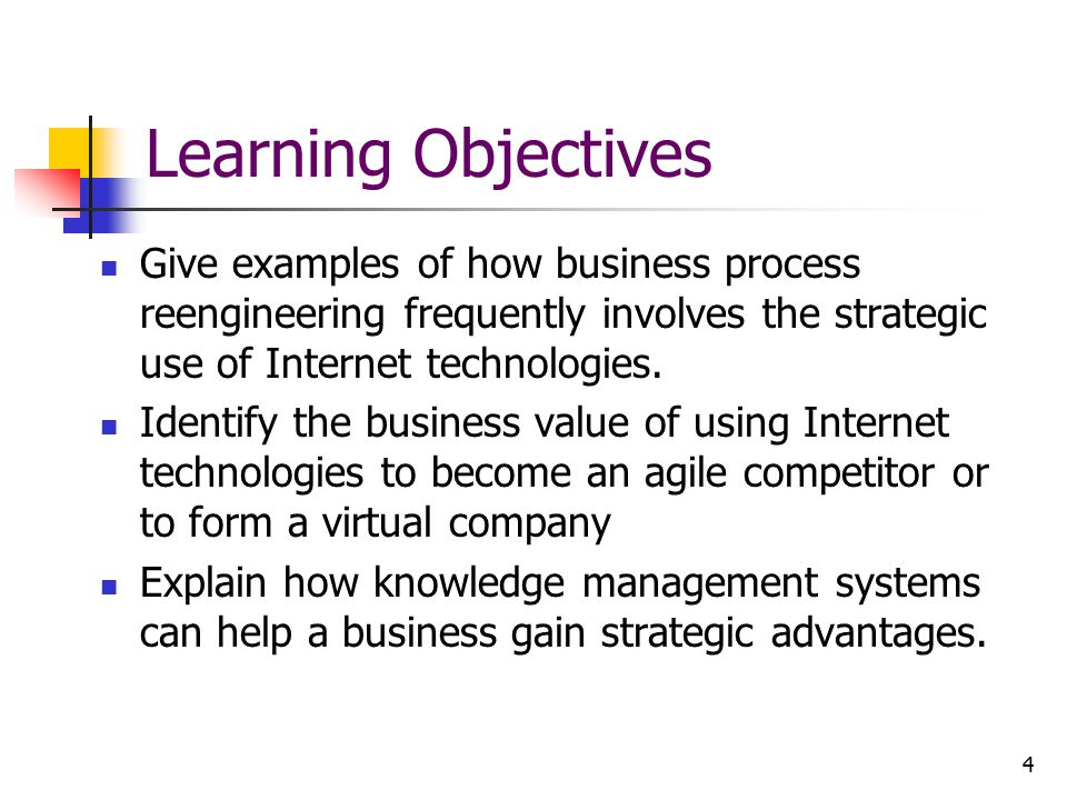Learning Objectives Give examples of how business process reengineering frequently involves the strategic use of Internet technologies.
