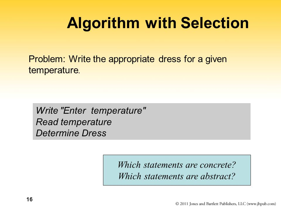 Algorithm with Selection