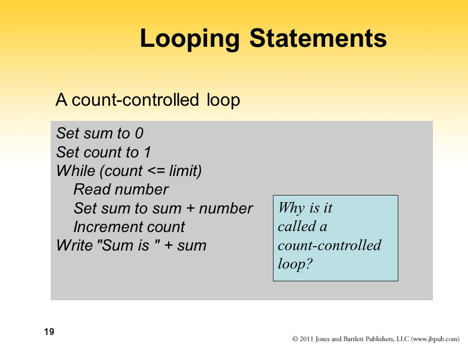 Looping Statements A count-controlled loop Set sum to 0 Set count to 1