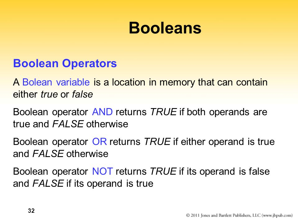 Booleans Boolean Operators