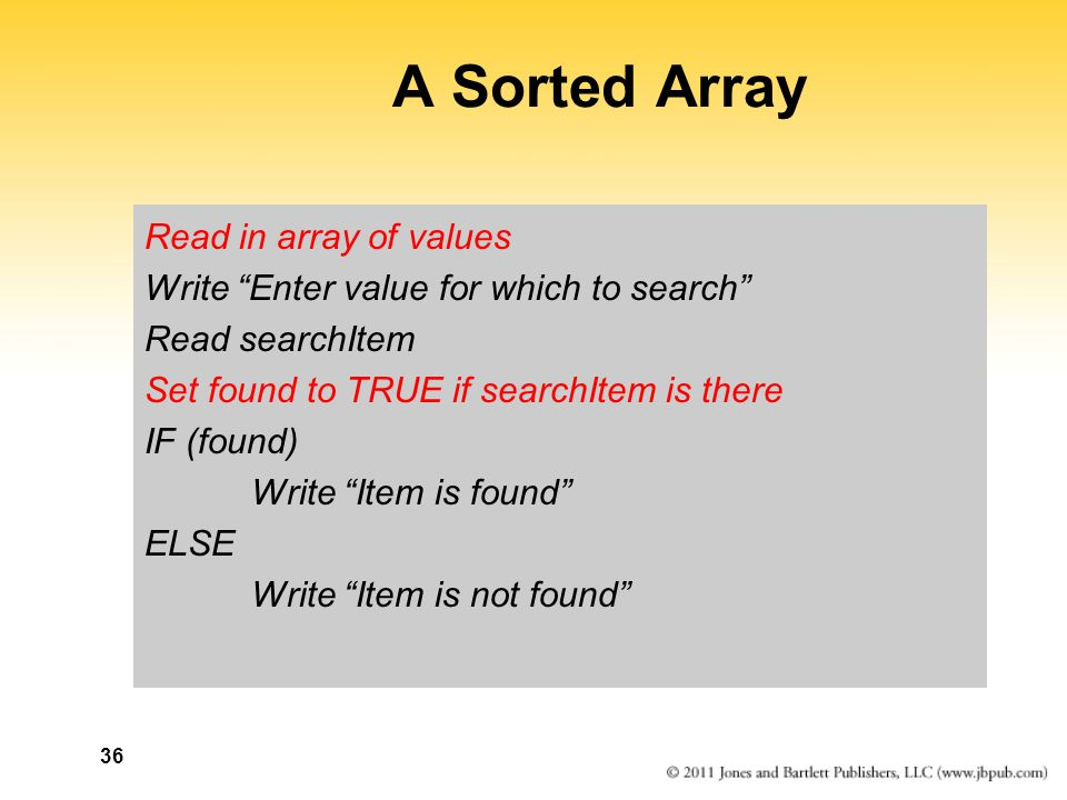 A Sorted Array Read in array of values