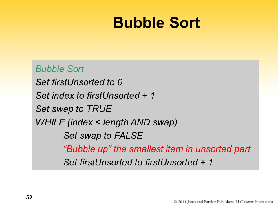 Bubble Sort Bubble Sort Set firstUnsorted to 0