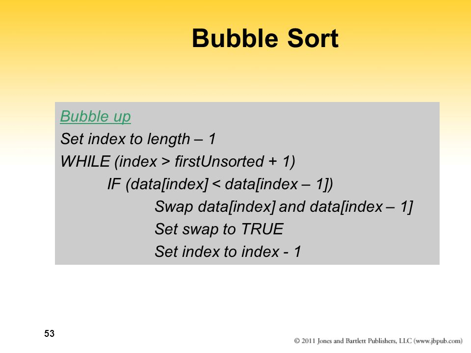 Bubble Sort Bubble up Set index to length – 1