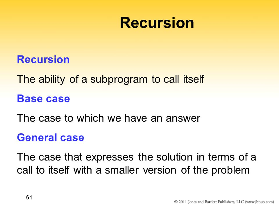 Recursion Recursion The ability of a subprogram to call itself