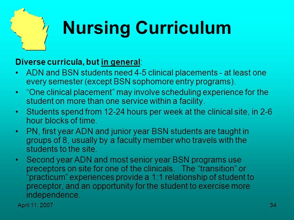 Nursing Curriculum Diverse curricula, but in general: