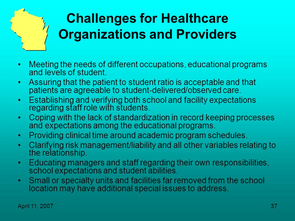 Challenges for Healthcare Organizations and Providers